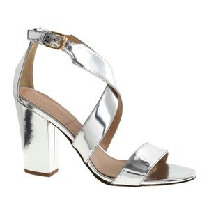 J. Crew Silver Mirror Callie Heeled Sandals